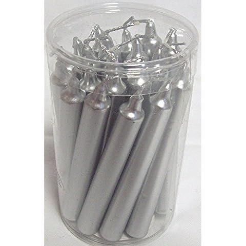 Confezione da 20 Mini candele albero di Natale, 13 mm x 105 mm, colore: argento