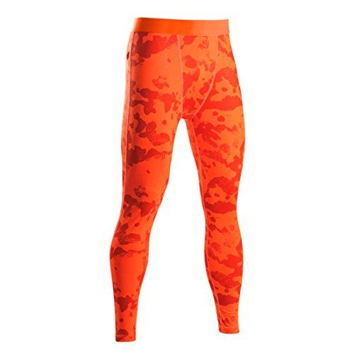 HDH - Leggings Deportivos - Hombre Orange Camouflage