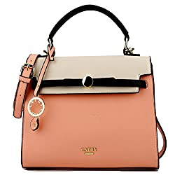 Cathy London Womens Handbag, Material- Synthetic Leather, Colour- Beige/Peach