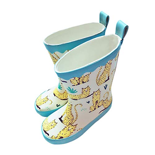 UniEco Waterproof Slip-on Kids Rain Boots Easy On&Off with Handles Half-Height Wellies for Boys and Girls