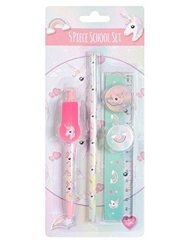 Unicorn 5px School Stationary Set Pen, Pencil, Ruler, Rubber & Sharpener
