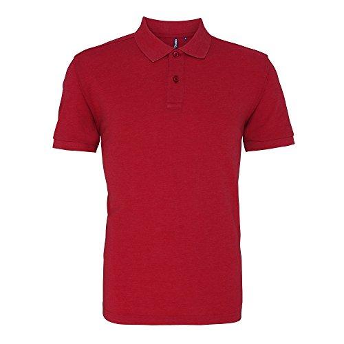 Asquith & Fox Herren Polo-Shirt, Kurzarm Rot meliert