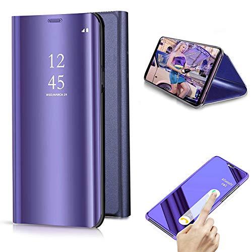 Cestor Überzug Mirror Leder Handyhülle für Samsung Galaxy S9 Plus, lila Kristall Spiegel Flip Handytasche Ultra Dünn Galvanisieren Harte PC Schutzhülle für Samsung Galaxy S9 Plus - Case Sms Audio