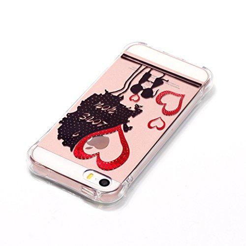 AllDo Coque Transparente pour iPhone SE Housse Souple de Protection Etui TPU Silicone Soft Case Cas Clair Beau Motif Original Coque Flexible Ultra Mince Housse Poids Léger Etui Anti Rayure Anti Choc C Amour Arbre