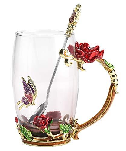 NBHUZEHUA Frauen einzigartiges Neuheit-Blumen-Glas Kaffeetassen Schalen mit Löffel Kaffeetasse Teetasse (Neuheit Gläser)