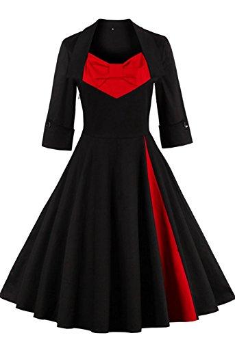 Babyonline Damen Vintage Rockabilly Cocktailkleid Partykleid Polka Dots Abendkleid L