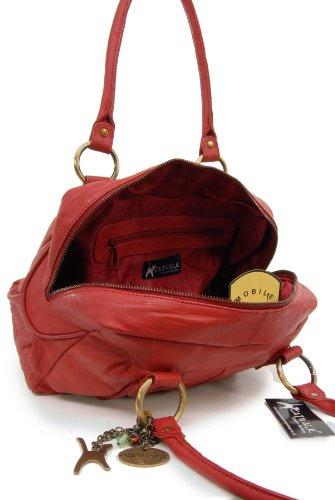 Lederhandtasche Megan von Catwalk Collection - GRÖßE: B: 29,5 H: 19,5 T: 12 cm Rot