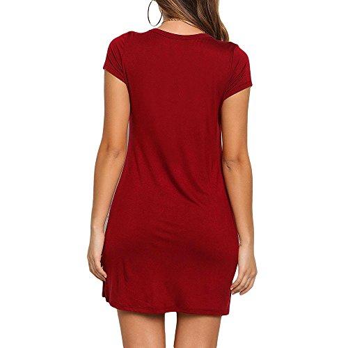 Bluestercool Abito Donna Estivo Vestito Tinta Unita o-collo Manica Corta Vestiti Rosso