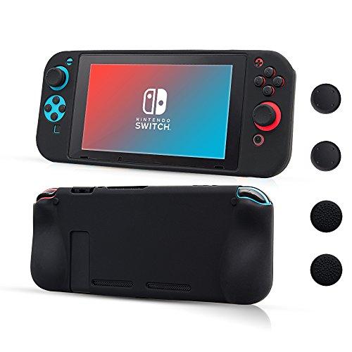 CHIN FAI Custodia per Nintendo Switch Cover Protettiva Silicone Silicon e Anti Slip con 4pcs Impugnature per thumbsticks Design Anti graffio e Anti