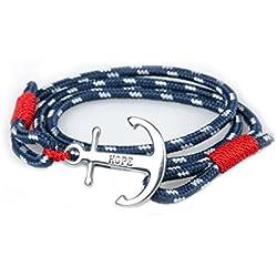 SUXNOS Bracelet Homme Ancre Femme Marine Espérer Amour Chaînes Bleu Nautique Cordon Braided Wrap Acier Hope Wristband