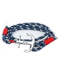 SUXNOS Bracelet Ancre Homme Femme Marine Espérer Amour Chaînes Bleu Nautique Cordon Braided Wrap Acier Hope Wristband