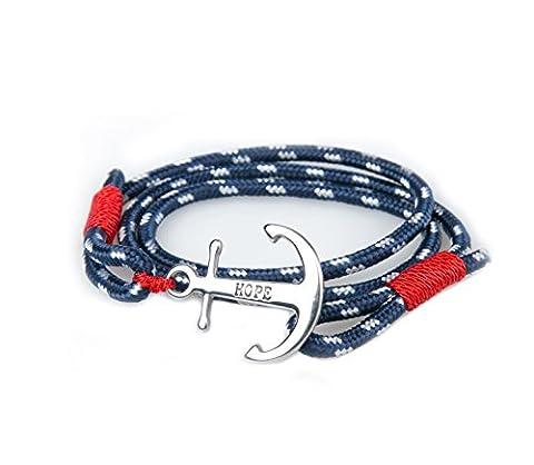Bracelet Ancre Homme Femme Espérer Amour Chaînes Bleu Nautique Marine Cordon Braided Wrap Acier Hope Wristband