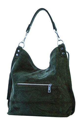 Shopper borsa, borsa a tracolla, Mod. 2108 scamosciato, Italy Verde
