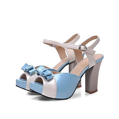 VogueZone009 Donna Colore Assortito Tacco Alto Sbirciare Pelle Di Maiale Fibbia Sandali Azzurro