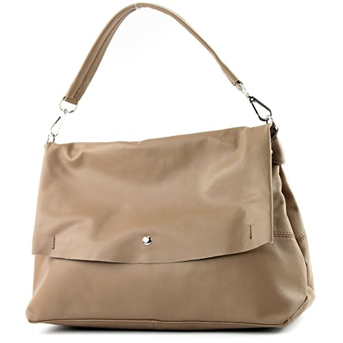 modamoda de - ital. Ledertasche Damenhandtasche Damentasche Schultertasche Nappaleder T156 Toffee