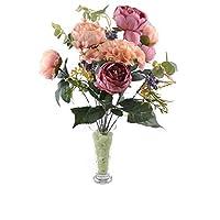 11 Dallı 50 cm Gül Demeti Yapay Çiçek Yavruağzı -CK004YA