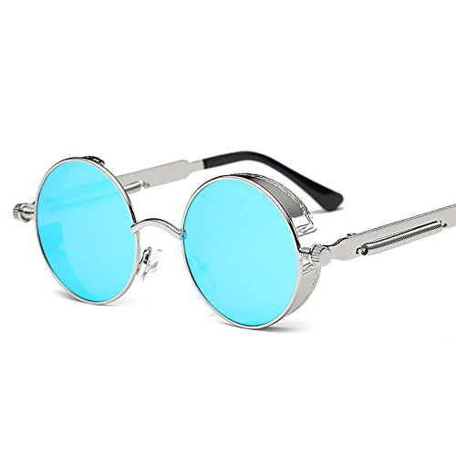 2018 Gafas De Sol Nuevas Gafas De Sol De Metal Marco Redondo Vintage Punk Unisex Gafas Deportivas Gafas De Sol Clásicas Para Hombres Y Mujeres [Antideslumbrante] [Protección UV] Conducción / Pesca,Blue