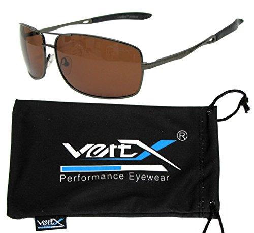 VertX Herren polarisiert Metall Aviator Sonnenbrille Frühling Scharnier Angeln fahren Golf im freien - Pistole Metallrahmen - Amber Lens
