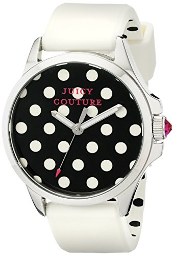 JUICY COUTURE WOMEN'S SILICONE BAND STEEL CASE QUARTZ BLACK DIAL WATCH 1901221