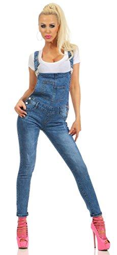 5406 Fashion4Young Damen Jeans Latzhose Latz Jeans Träger Röhrenjeans Jeanslatzhose Stretch Slimline