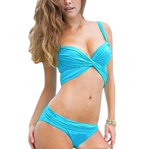 Bandage Bikini Maillot de bain avec soutien-gorge Push-up rembourré Bleu - Bleu
