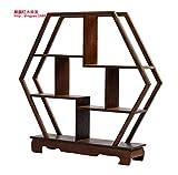 GWDecor Antik Redwood Regal Chinesisch Traditionelle Handarbeit Geschnitzt Retro Möbel Creative Home Schreibtisch Dekor Schmuck Storage Sechskant Form