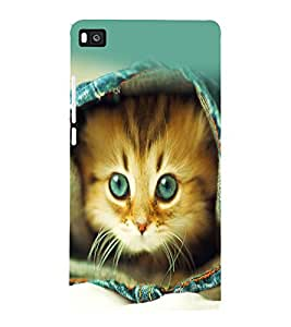 printtech Kitten Jeans Back Case Cover for Huawei Honor P8