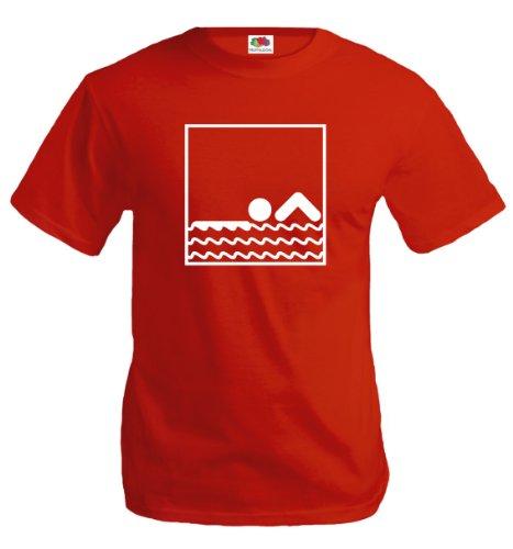 buXsbaum® T-Shirt Schwimmen-Piktogramm Red-White