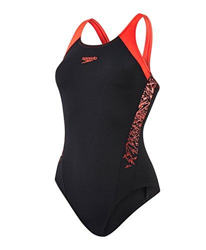Speedo Damen Boom Splice Muscle Back Badeanzug, Mehrfarbig (Black/Lava Red), DE 46