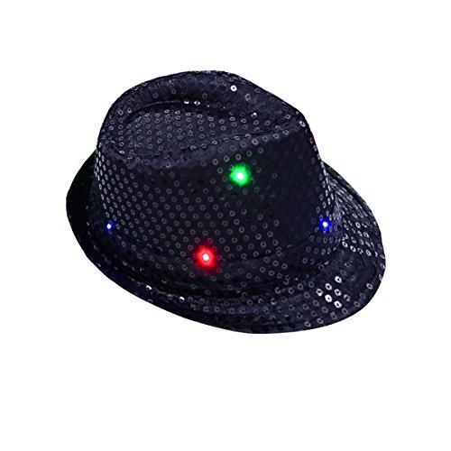 Chapeaux de fête, DAXIN clignotant chapeau de paillettes chapeau de lumière avec 10 lumières LED colorées pour rave Party, Disco Club, fantaisie robe personnalisée 0768390720945