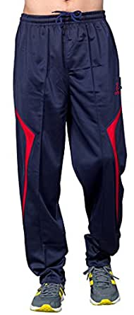 Ocra Men's Solid Polyester Track Pant (OCRA_TP_49_Dark Blue Red_Small)