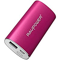 RAVPower Portable Charger 6700mAh Power Bank External Battery Pack with 2.4A Output 2A Input and iSmart Technology - Pink