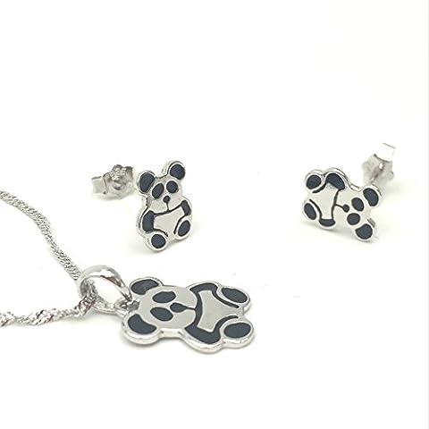 FANSING Bijoux Cadeau Critter Panda 925/1000 Argent Sterling Pendentif Colliers et Boucle d'oreille Parures Sets Pour peau Sensible Enfants Filles 45cm