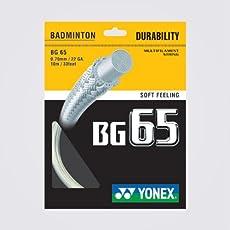 Yonex BG 65 Nylon Badminton String, Senior 0.70mm (White)