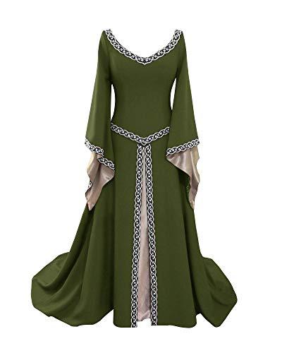 rm Mittelalter Kleid Gothic Viktorianischen Königin Kostüm V-Ausschnitt Prinzessin Renaissance Bodenlänge Mehrfarbig Kleider Grün XXL ()