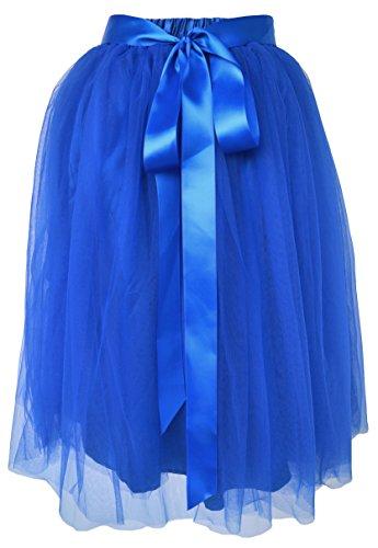 Dancina Damen Tutu A-Linie Knie Länge Tüllrock Königsblau Gr. 36-40 (Erwachsene Für Tutu Blau)