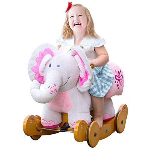labebe Baby Rocking Horse Wooden, 2 In 1 Plush Rocking Horse with Wheel, Elephant Baby Rocker Pink for 1-3 Years, Pink Rocker Toy/Pink Baby Rocker Elephant/Pink Wooden Rocking Horse/Girl Baby Rocker
