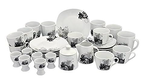 Kaffeeservice Black Flower 32tlg. für 6 Personen mit Zubehör weiß mit schwarzem Blumendekor