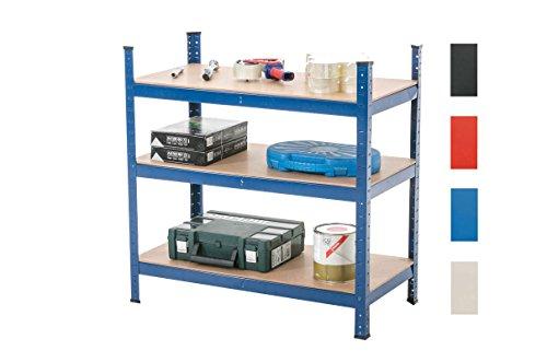 Clp scaffale in metallo ad alta portata - scaffale magazzino zincato, con portata 525 kg - scaffalatura garage 90 x 90 x 45 cm – scaffale mensola con 3 ripiani - scaffalatura metallica officina blu