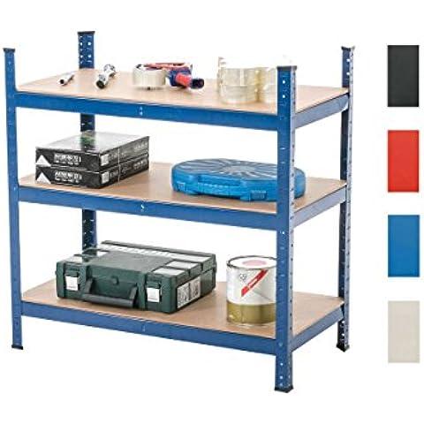CLP Estantería galvanizada para almacenar cargas pesadas, en metal con una carga máxima de 525 kg, dimensiones: 90x45x90 cm, 3 estantes azúl