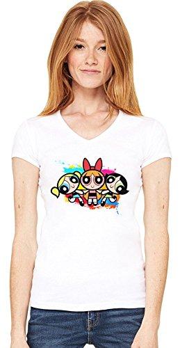 Powerpuff Girls Damen V-Ausschnitt T-Shirt Medium -