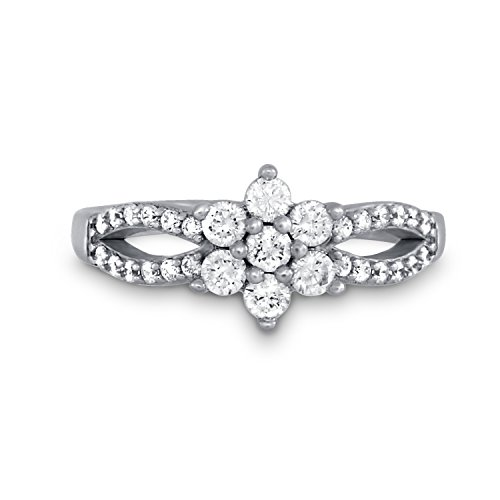 CRIGER Damen Schmuck, Blumen-Ring aus 925 Sterling Silber rhodiniert & Nickelfrei inkl. Etui-Geschenkbox, Ringgröße:60 (19.1 mm Ø) (1950er Modeschmuck)