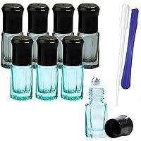 Botellas de cristal de 3 ml con bola de acero inoxidable – Mini rollo de aceite esencial recargable en botellas con 1 herramienta de apertura y 1 cuentagotas – ideal para aromaterapia, perfumes por JamHooDirect