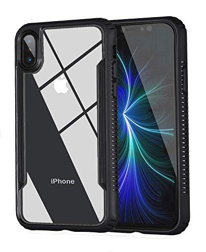tesson Ultra Hybrid Apple iPhone X Fall, Klar Hybrid Case, dünn gehärtetem Glas Back Cover und Soft TPU Bumper Frame, Dämpfung Bumper Cover, Kratzfest transparente Rückseite, HD klar, schwarz