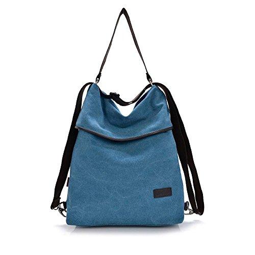 HongyuTing Sacchetto di spalla delle donne della tela di canapa Retro Zaino Sacchetto multifunzionale per il lavoro, la scuola ed ogni giorno quotidiano B017-Blu1