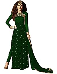 Clothfab Women Georgette Embroidered With Stone Work Party Wear Salwar Suit Dress Material (maroon-suit-21008_...