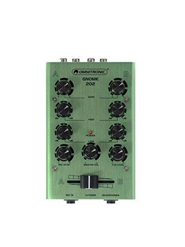 Omnitronic GNOME-202 Mini-Mixer grün | 2-Kanal-DJ-Mixer im Miniaturformat | Regelbarer Masterausgang und Record-Ausgang über Cinchbuchsen | Eloxiertes Metallgehäuse