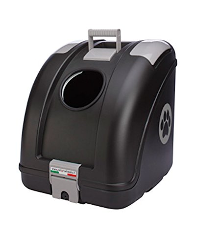 POW Pet on Wheels - Pet Carrier for Dogs and Cats Easy Mounting on Scooter, Motorcycle, Bike and also suitable for Car | Main Colour Black, Grey Inserts