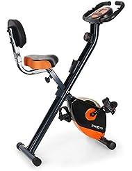 Klarfit X-Bike 700 bicicleta estática plegable (pulsómetro, ordenador de entrenamiento, montaje rápido, resistencia regulable, superficie de apoyo de goma, 100 kg de carga máxima) - negro naranja