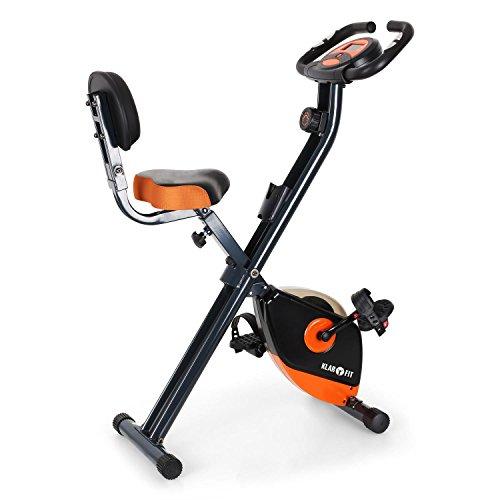 Klarfit X-Bike 700 Cyclette pieghevole per home fitness (display LCD per allenamento, misurazione pulsazioni, 8 livelli di resistenza regolabili, sedile ergonomico) - nero / arancione